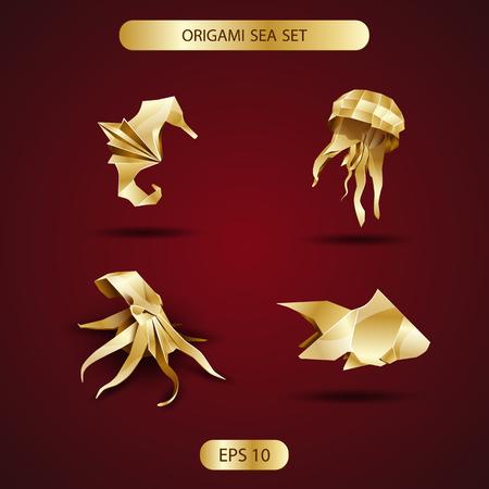golden origami sea set