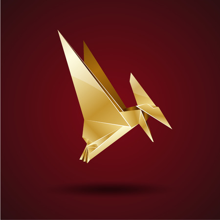 pterodactyl: golden origami pterodactyl Illustration