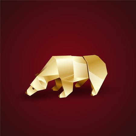 bowed head: golden origami polar bear bowed his head Illustration