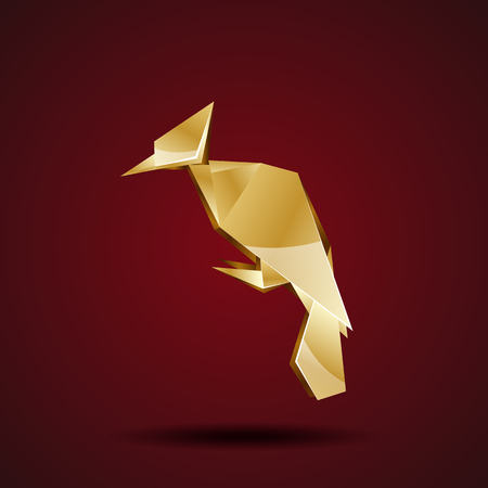 woodpecker: vector golden origami woodpecker Illustration