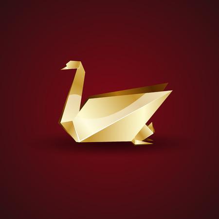 graphics design: vector golden origami swan