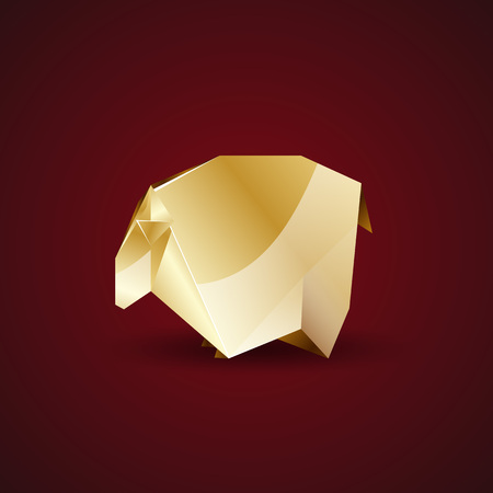 expensive food: vector golden origami sheep Illustration