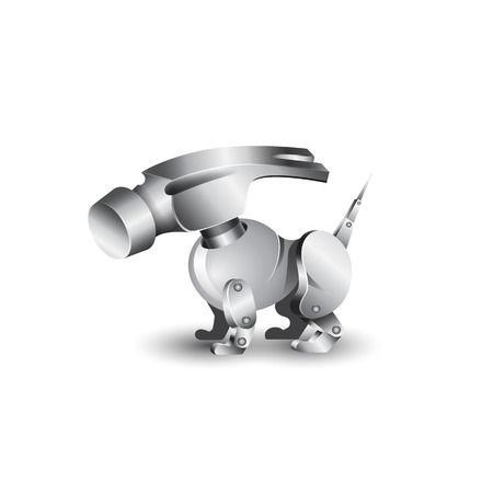 hammer head: Dog robot with a hammer instead of the head