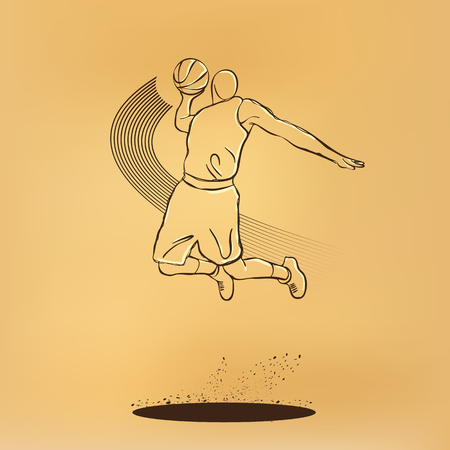 throw paper: Basketball. Throw the ball, Slam. retro illustration on old paper.