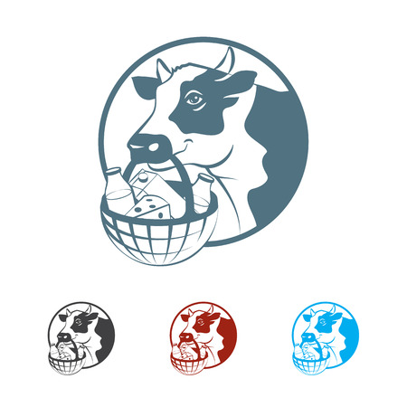 milk products: Cow hold in it mouth basket with milk products. Monochrome illustration.