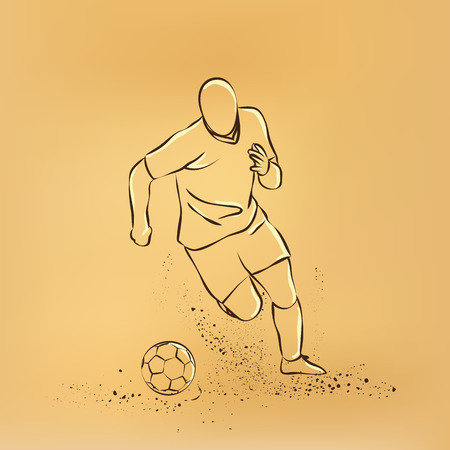 dribbling: Dribbling football. soccer player running with the ball. retro illustration on old paper.