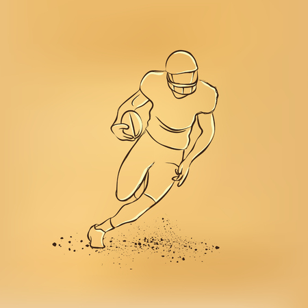 american vintage: Football. The player runs away with the ball. retro illustration on old paper. Illustration