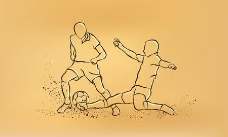 tackle: Soccer. fight for the ball. tackle. retro illustration on old paper. Illustration