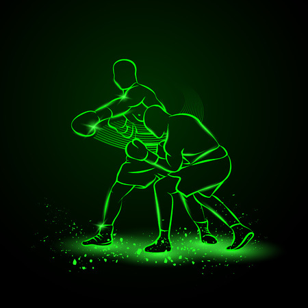 boxing sport: Boxer has hit and the opponent falls in knockout. Neon style illustration.