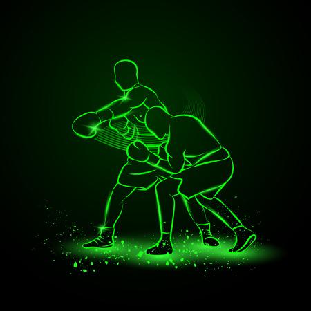 Boxer heeft getroffen en de tegenstander valt in de knock-out. Neon stijl illustratie.