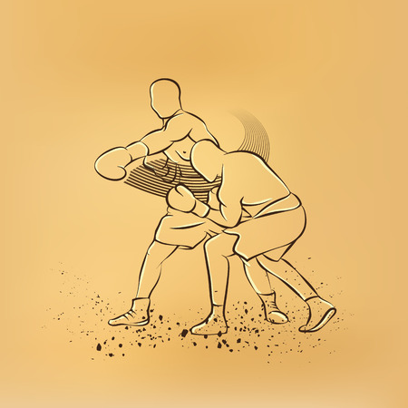 knockout: Boxer has hit and the opponent falls in knockout. Old paper drawing illustration. Illustration