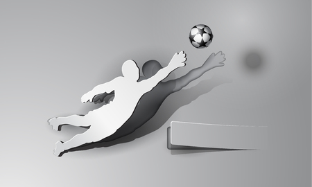 soccer background: Soccer. Goalkeeper catches the ball. Sport paper cut design on a gray background with space for text.
