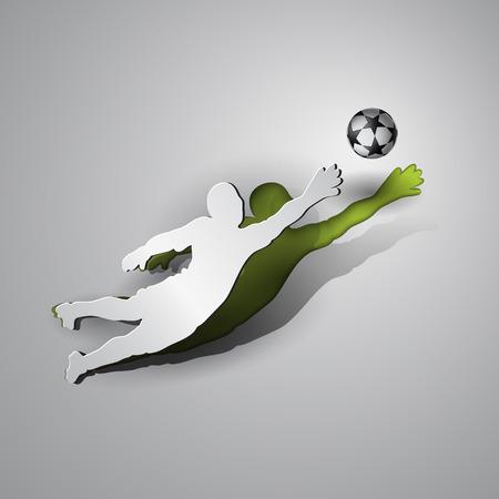 arquero futbol: Fútbol. El portero atrapa el balón. el papel del deporte del diseño del corte en un fondo gris.