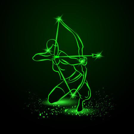Archer con el arco. Ilustración de neón. Ilustración de vector