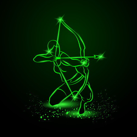 Archer with bow. Neon illustration.