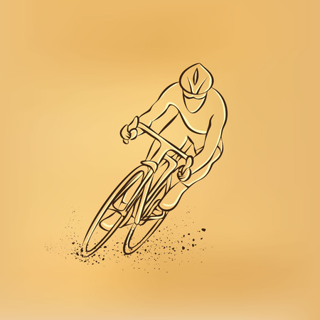 cycling race: Cycling race. Front view. Vector retro drawing illustration. Illustration