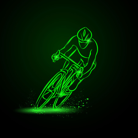 cycling race: Cycling race. Front view. Vector neon illustration. Illustration