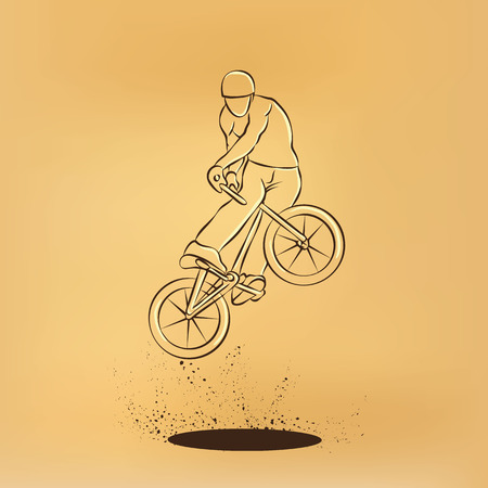 scroll wheel: Trick on the BMX bike. Vector retro drawing illustration. Illustration