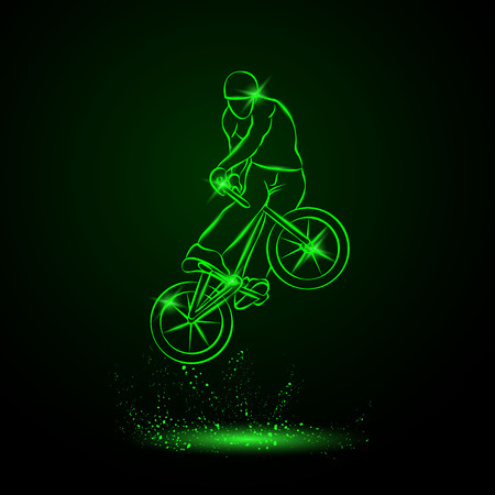 Trick on the BMX bike. Vector neon illustration.