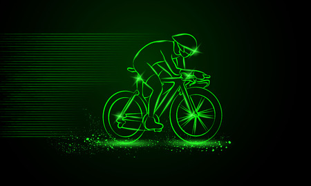 cycling helmet: Cycling race. Vector neon illustration.
