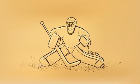 goalie: Hockey goalie. Vector retro drawing illustration.