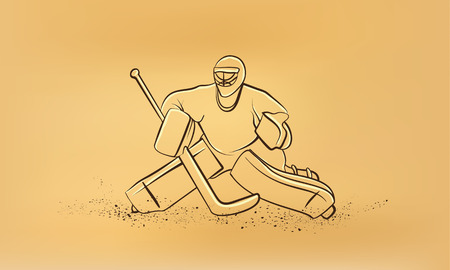 Hockey goalie. Vector retro drawing illustration.