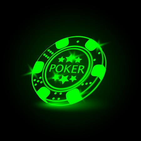 poker chip: Poker chip. Neon vector illustration.