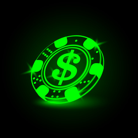 neon sign: Neon poker chip with a dollar sign Illustration
