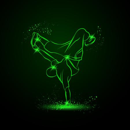 friso: Dancing rapero y haciendo un friso en una mano. Vector de ne�n ilustraci�n.
