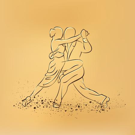 prom night: Couple dancing tango. Vector retro drawing illustration.