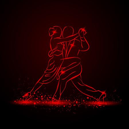 Couple dancing tango. Vector red neon illustration.