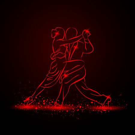 Couple dancing tango. Vector red neon illustration.