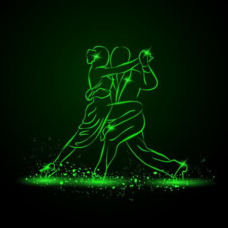タンゴを踊るカップル。ベクトル緑のネオンの図。