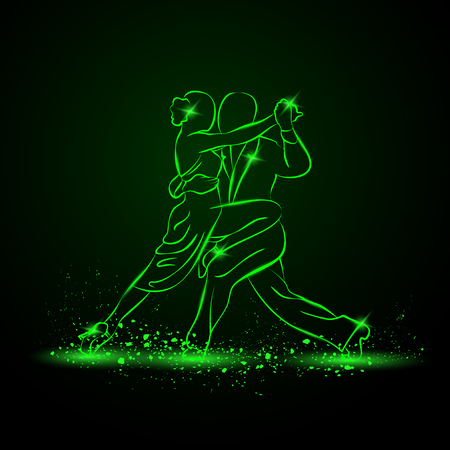 Couple dancing tango. Vector green neon illustration. Vettoriali