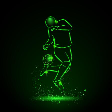 Soccer player makes a feint. Vector sport neon illustration.