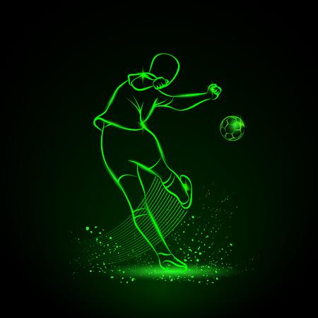 kicks: Soccer player kicks the ball. Back view. Vector sport neon illustration.