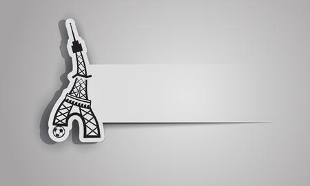 France Football Euro 2016 logo. Eiffel Tower plays soccer. Sports sticker banner.