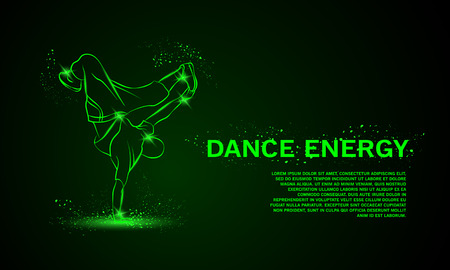 freeze: Cool street dancer making freeze. Break dance vector neon background with space for text. Illustration