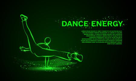 break dance: Cool street dancer. Break dance vector neon background with space for text.