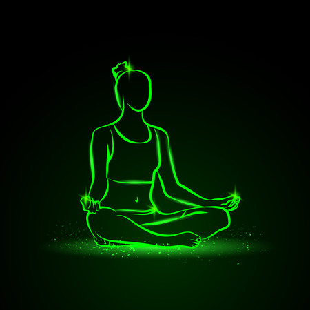 Neon vector illustration of a woman practices yoga. 向量圖像