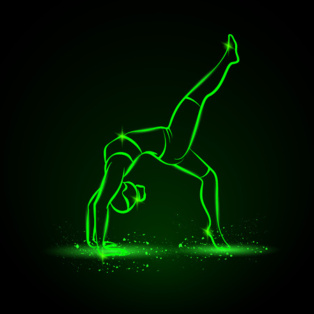 practices: Neon vector illustration of a woman practices yoga. Illustration