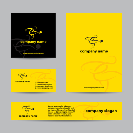 card player: Abstract soccer player logo. Vector branding set of banners and business card.