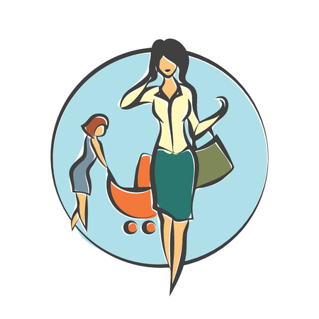 child care: Nanny who takes care of the child until the mother is working. Vector flat illustration.