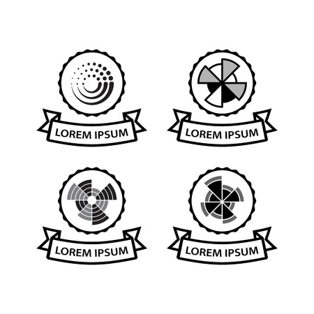 sectoral: Set of business icons with radial sectoral diagrams. Vector financial emblems with ribbon in logo.
