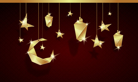 Ramadan Kareem 3d gold origami background with stars, moon and lamps made of the golden paper.