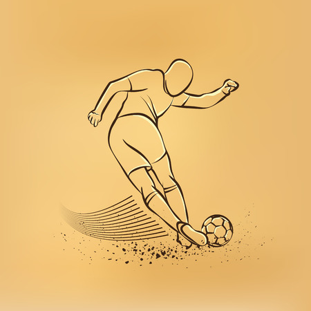 tricky: Tricky kick by soccer player. Vector retro drawing illustration.