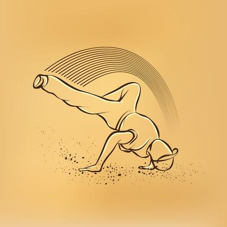 breakdance: Breakdance freeze. Vector retro drawing illustration. Illustration