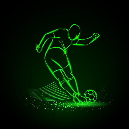 tricky: Tricky kick by soccer player. Vector neon illustration. Illustration