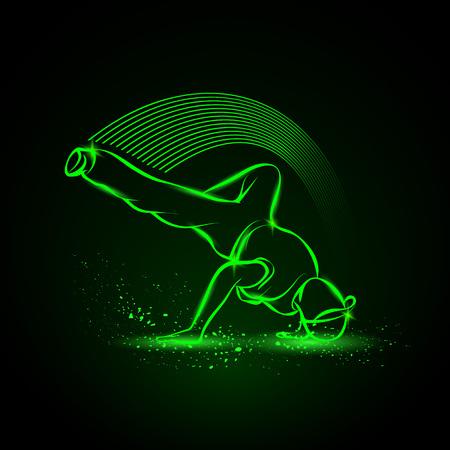 Breakdance freeze. Vector neon illustration.