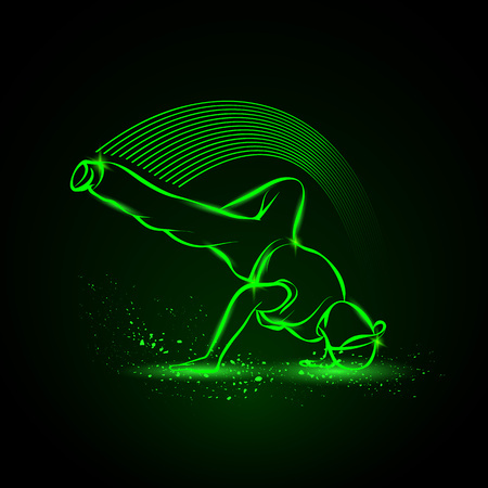 breakdance: Breakdance freeze. Vector neon illustration. Illustration